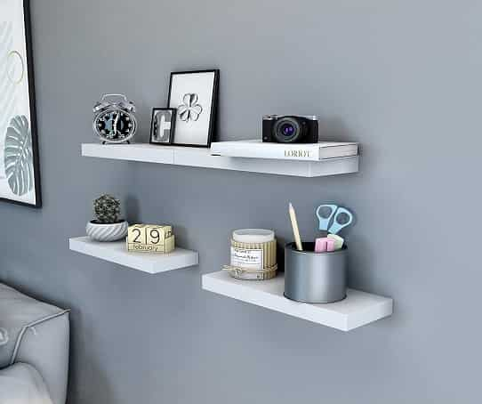 SONGMICS Floating Wall Shelf 15 inch Easy Install for Decorative Display