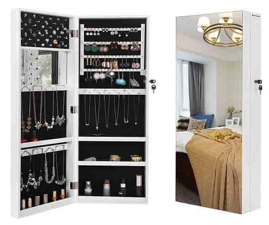 SONGMICS Deepened Jewelry Cabinet, Full Screen Wall Mounted cabinet