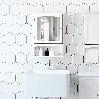 SONGMICS Mirror Cabinet and Bathroom Wall Storage Cabinet