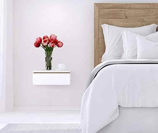 Sleek Floating Nightstand Drawer, Wall Mount Side Table, Floating Bedside Table