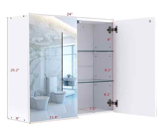 Tangkula Bathroom Wall Mounted Mirrored Bathroom Kitchen 2-Door Storage Frameless Multi-function Medicine Cabinet
