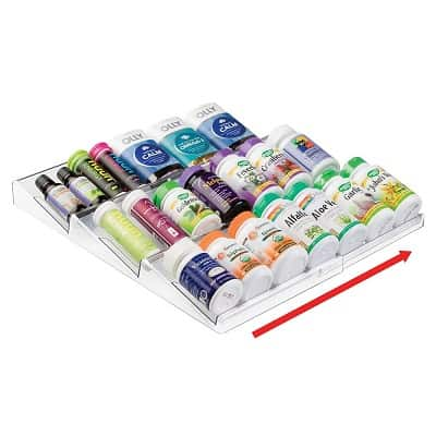 mDesign Adjustable Plastic Vitamin Rack Storage