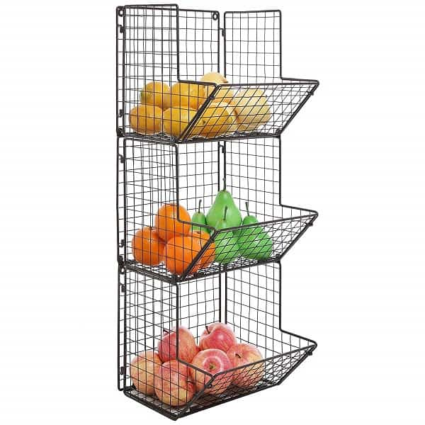 MyGift Rustic Brown Metal Wire 3 Tier Wall Mounted Kitchen Fruit Produce Bin Rack_1