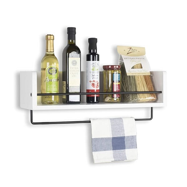 Rustic State Kitchen Wood Wall Shelf with Metal Rail Spice Rack White 20 Inch_1