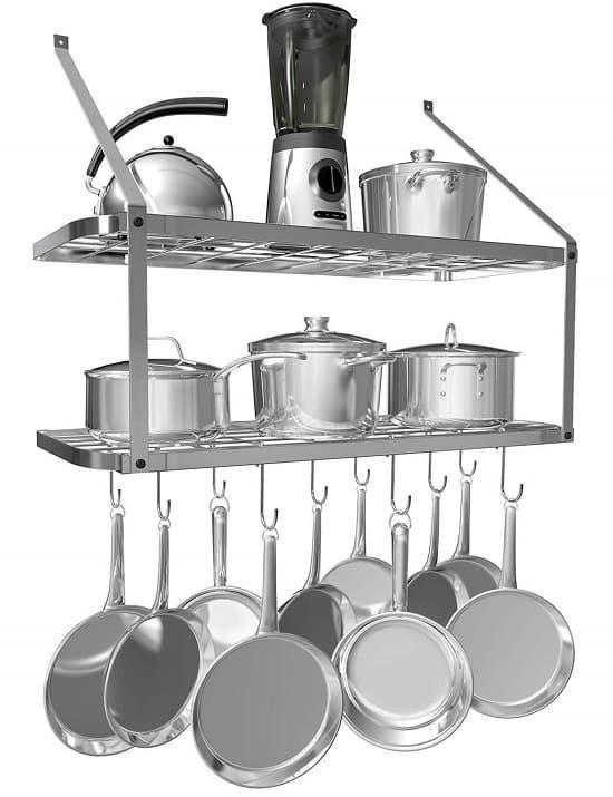 VDOMUS Shelf Pot Rack Wall Mounted Kitchen Items Hanging Racks 2 Tire (Silver)_1