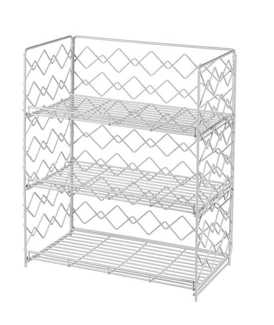Wide Wall-Mounted Spice Rack - Wire Kitchen Counter Storage and Shelf Organizer (Black, three Tier_1