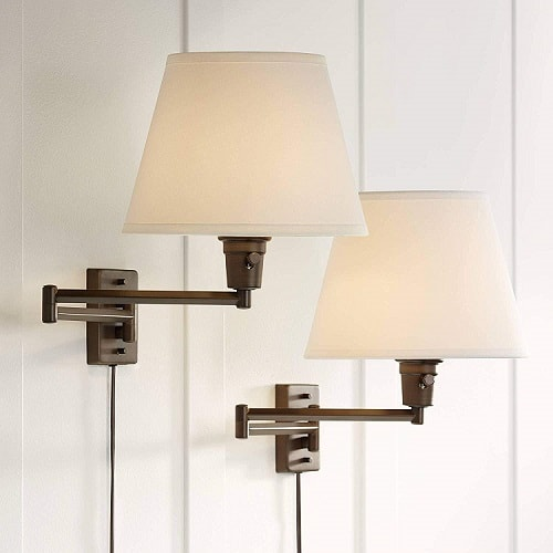 Clement Bronze Plug-in Swing Arm Wall Lamp Set of 2-360 Lighting
