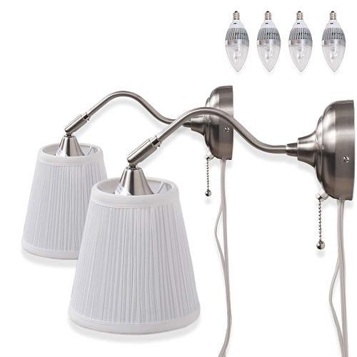 Contemporary Adjustable Head Plug-In Bedside Lamp