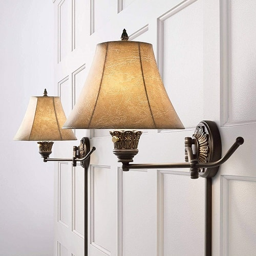 Rosslyn Swing Arm Wall Mounted Bedside Lamps for Bedroom or Living Room