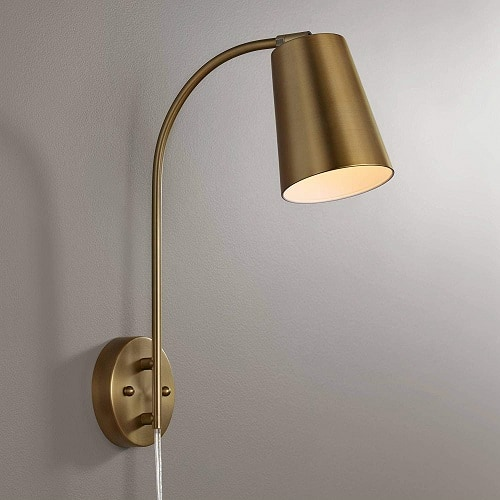 Sully Warm Brass Plug-in Wall Lamp - 360 Lighting