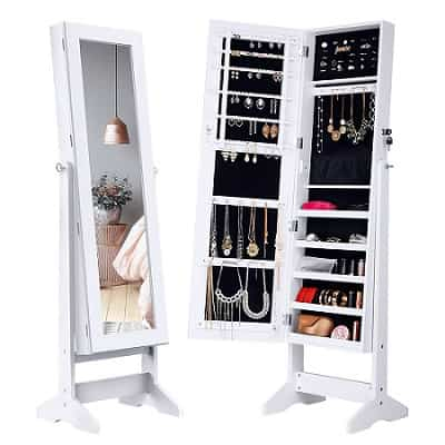 LANGRIA Free Standing Wall Mounted Jewelry Cabinet-min