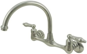"7""-9"" Chrome-Finish Plumb USA 33326AB Wall Mount Kitchen Faucet"