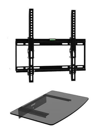 Mount Plus, 322STEDV Ultra Low Profile TV Tilt Wall Mount with One Glass Shelf-min