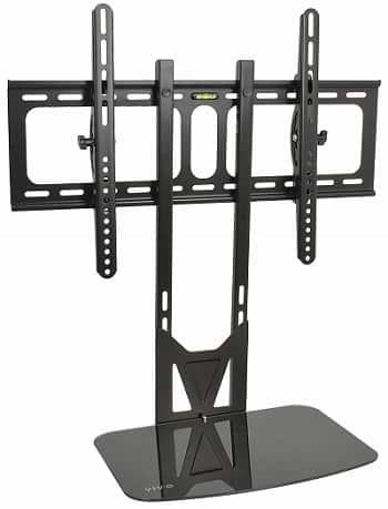 VIVO, Black TV Adjustable Tilt Wall Mount and Entertainment Floating Shelf-min