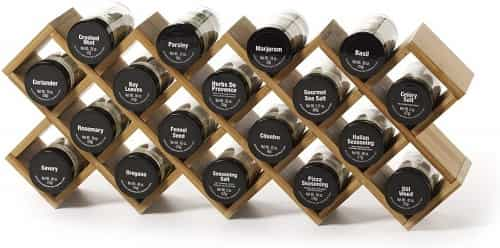 Kamenstein Criss-cross Bamboo 18-jar Wall Mount Spice Rack
