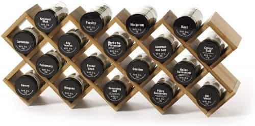 Kamenstein Criss-cross Bamboo 18-jar Wall Mount Spice Rack