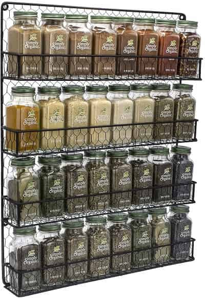 Sorbus Wall Mount Spice Rack Organizer