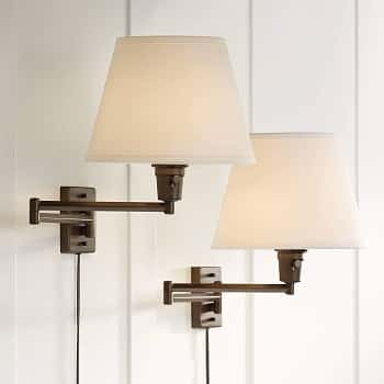 Clement Bronze Plug-in Swing Arm Wall Lamp Set