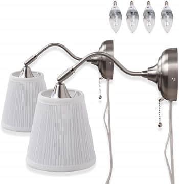 Contemporary Adjustable Head Plug-in Wall Lamp