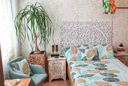 Boho Carved Wall Mounted Headboard by Siam Sawadee