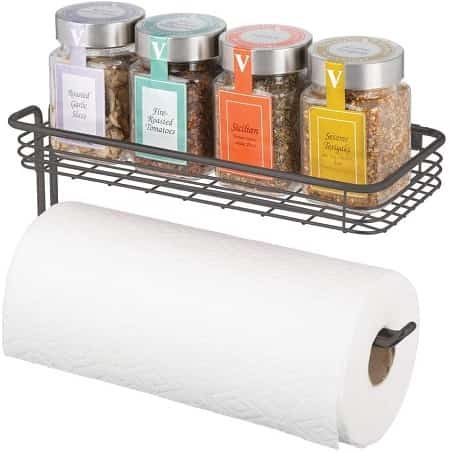 mDesign with Shelf Wall Paper Towel Holder for Kitchen Storage