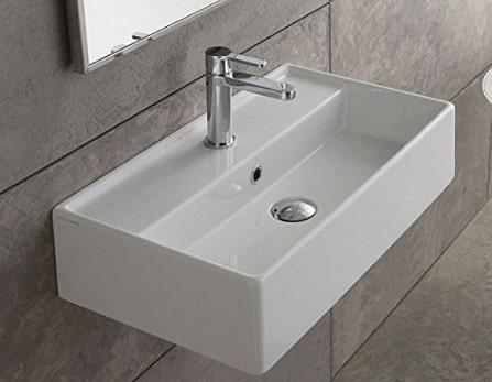 Scarabeo 5002 One-Hole Teorema Rectangular Ceramic Wall-Mounted Vessel Sink, white